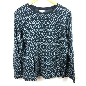 J Jill diamond pattern pullover sweater w/ pockets